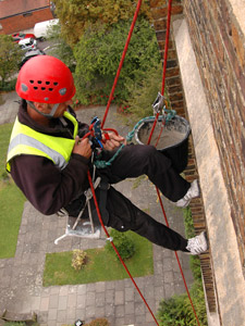 Brick re-pointing abseiler