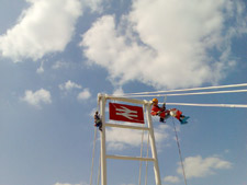 Abseilers working on British Rail painting