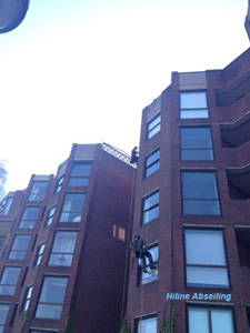 Abseilers window cleaning