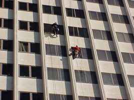window cleaning abseilers